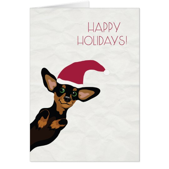 Cute Dachshund with Santa hat holiday card