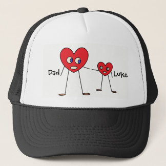 Cute Dad and Son Heart Stick Figures Personalized Cap