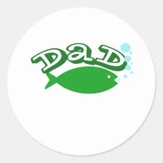 "Cute, ""Dad"" with Fish Round Sticker"