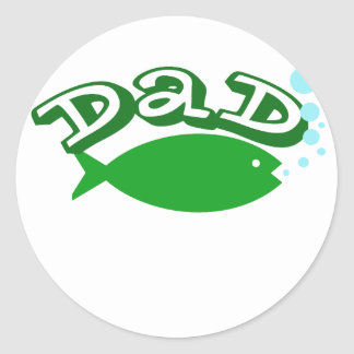"Cute, ""Dad"" with Fish Sticker"