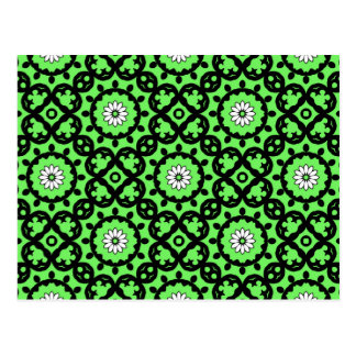 Cute daisies on green kaleidoscope postcard