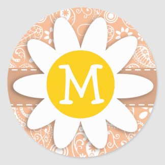Cute Daisy; Apricot Color Paisley; Floral Round Stickers