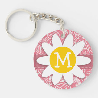 Cute Daisy; Blush Pink Paisley; Floral Double-Sided Round Acrylic Keychain