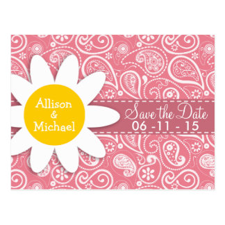 Cute Daisy; Blush Pink Paisley; Floral Post Cards