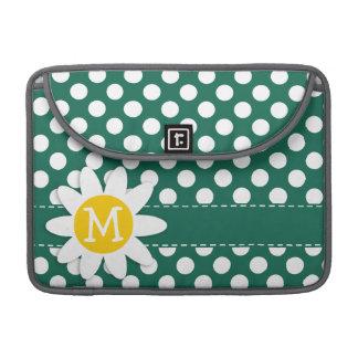 Cute Daisy; Bottle Green Polka Dots Sleeves For MacBook Pro