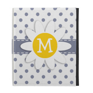 Cute Daisy; Cool Grey Polka Dots iPad Case