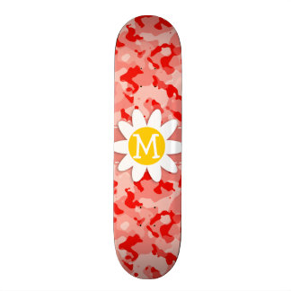 Cute Daisy; Coral Pink Camo; Camouflage Skateboard Deck