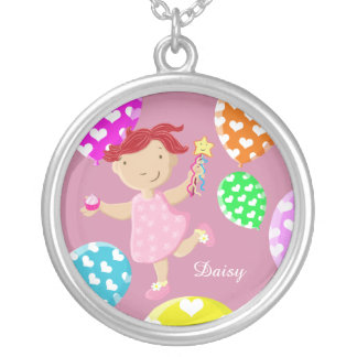 Cute Daisy Cupcake And Balloons Kids Round Pendant Necklace
