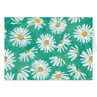 cute daisy,green,floral,pattern,girly,trendy,fun, greeting card