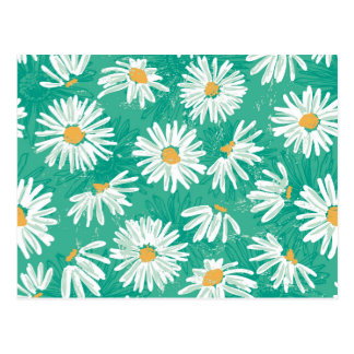 cute daisy,green,floral,pattern,girly,trendy,fun, postcard