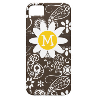 Cute Daisy on Bistre Brown Paisley iPhone 5 Cases