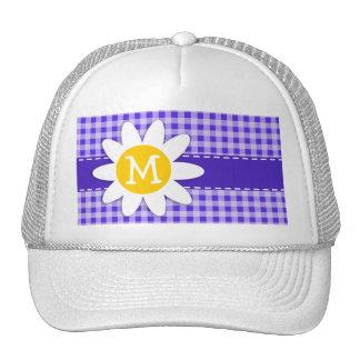 Cute Daisy on Blue Violet Gingham Trucker Hat