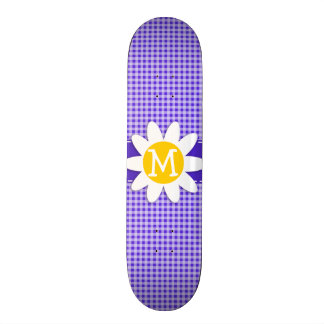 Cute Daisy on Blue Violet Gingham Skate Board