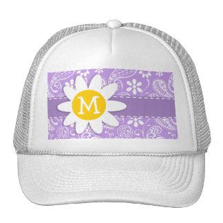 Cute Daisy on Bright Lavender Paisley Trucker Hat