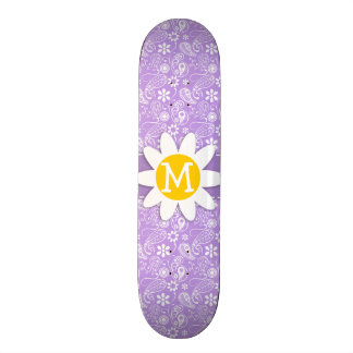 Cute Daisy on Bright Lavender Paisley Skate Board