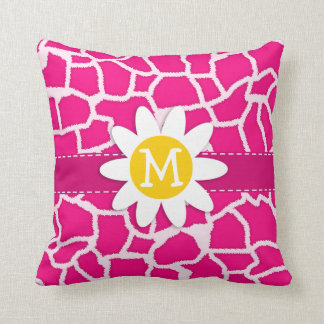 Cute Daisy on Bright Pink Giraffe Animal Print Cushion