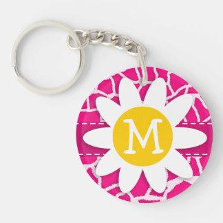 Cute Daisy on Bright Pink Giraffe Animal Print Double-Sided Round Acrylic Key Ring