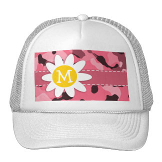 Cute Daisy on Brink Pink Camo; Camouflage Trucker Hat