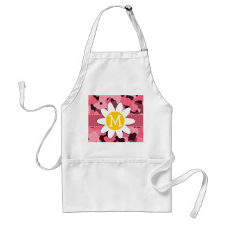 Cute Daisy on Brink Pink Camo; Camouflage Standard Apron