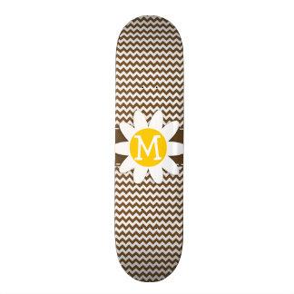 Cute Daisy on Brown Chevron; zig zag Skate Board Deck