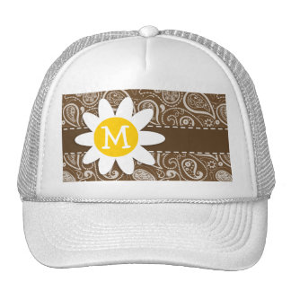 Cute Daisy on Brown Paisley Hat