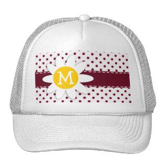 Cute Daisy on Burgundy Polka Dots Trucker Hat