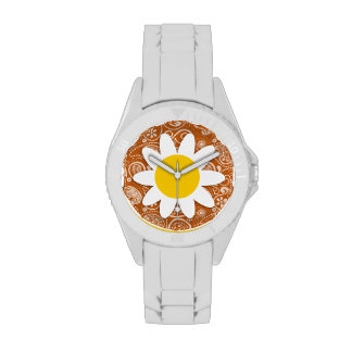 Cute Daisy on Burnt Orange Paisley; Floral Wrist Watch