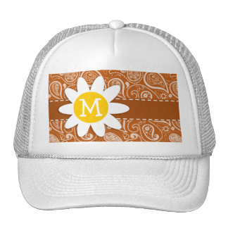 Cute Daisy on Burnt Orange Paisley; Floral Trucker Hat