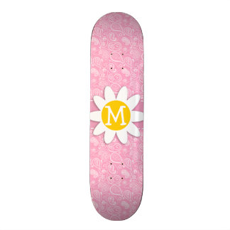 Cute Daisy on Carnation Pink Paisley Skate Board