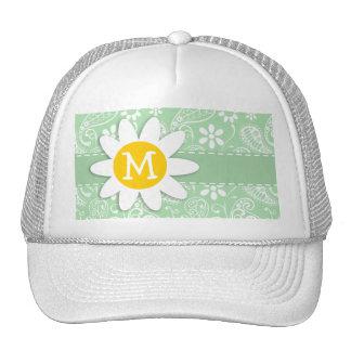 Cute Daisy on Celadon Paisley Trucker Hat