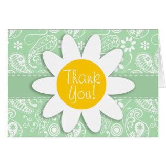 Cute Daisy on Celadon Paisley Note Card