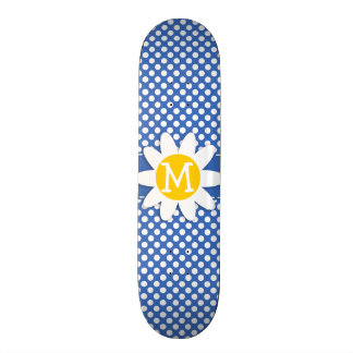 Cute Daisy on Cerulean Blue Polka Dots Skate Decks