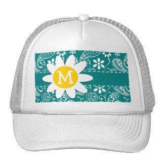 Cute Daisy on Dark Cyan Paisley; Floral Mesh Hats