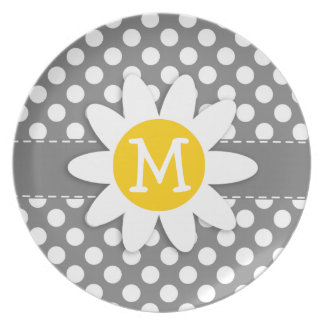 Cute Daisy on Dark Gray Polka Dots Plate