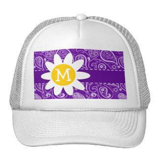 Cute Daisy on Dark Violet Paisley Trucker Hat