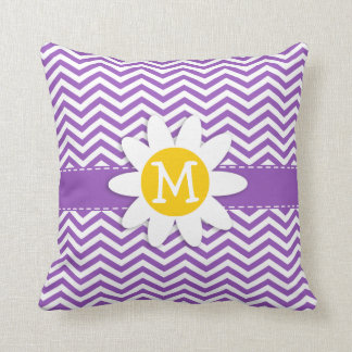 Cute Daisy on Deep Lilac Chevron Cushion