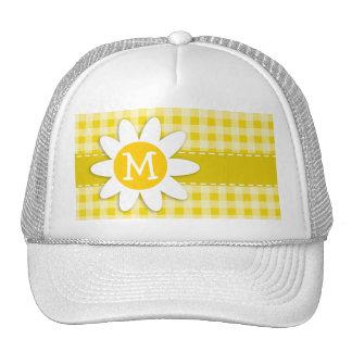 Cute Daisy on Golden Yellow Gingham Trucker Hat