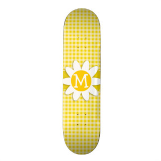 Cute Daisy on Golden Yellow Gingham Skateboards