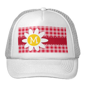 Cute Daisy on Retro Scarlet Red Gingham Pattern Mesh Hats