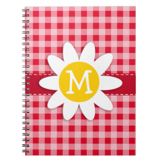 Cute Daisy on Retro Scarlet Red Gingham Pattern Notebooks
