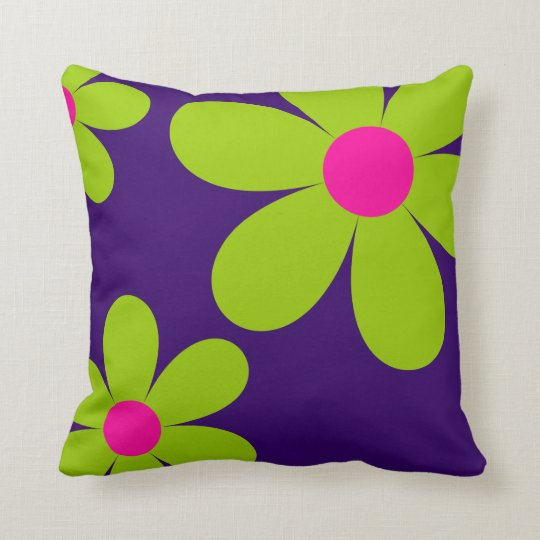 Cute Daisy Teen Throw Pillow - Purple