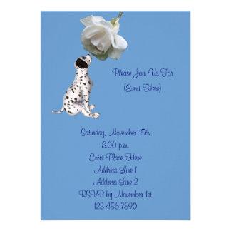 Cute Dalmatian Puppy Rose Animal Invitation