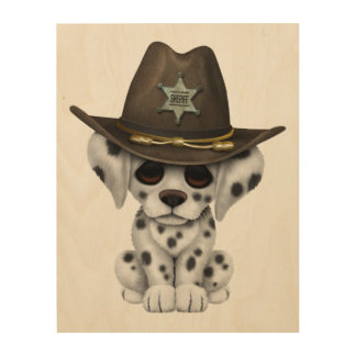 Cute Dalmatian Puppy Sheriff Wood Prints