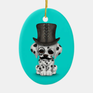 Cute Dalmatian Puppy with Monocle, Top Hat Blue Christmas Ornament