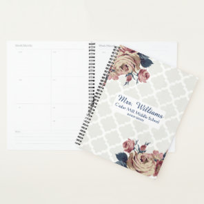 Cute Damask Floral Personalised Teacher Planner