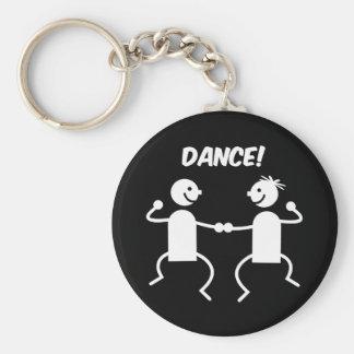 Cute dance basic round button key ring