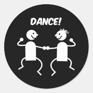 Cute dance round stickers
