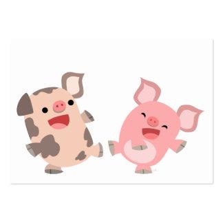 Cute Dancing Cartoon Pigs ACEO/Business Card