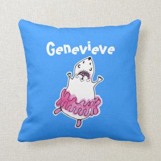 Cute Dancing Hamster Ballerina Pillow Blue Pink