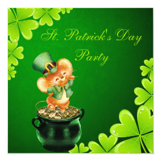 "Cute Dancing Mouse St. Patrick's Day Party 5.25"" Square Invitation Card"